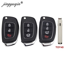 jingyuqin 3/4 Buttons Flip Folding Remote Key Fob Shell For Hyundai HB20 SANTA FE IX35 IX45 Accent I40 TOY40 Key Case