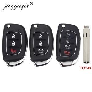 jingyuqin 3/4 Buttons Flip Folding Remote Key Fob Shell For Hyundai HB20 SANTA FE IX35 IX45 Accent I40 TOY40 Key Case