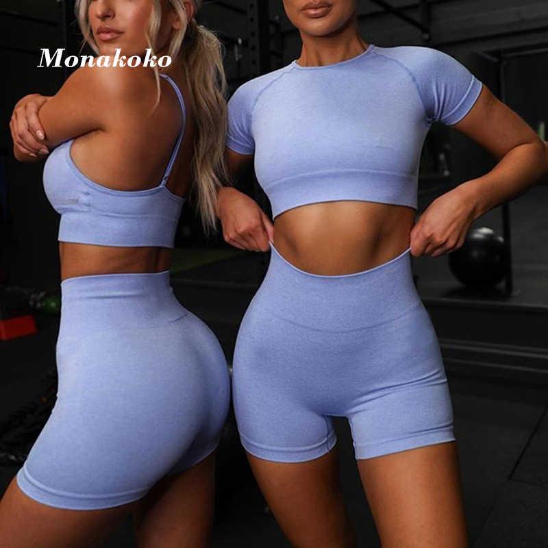 2020夏のスポーツセット女性ブルー2 2ピースクロップトップtシャツスポーツショーツヨガsportsuitワークアウトアクティブ衣装フィットネスジムセット