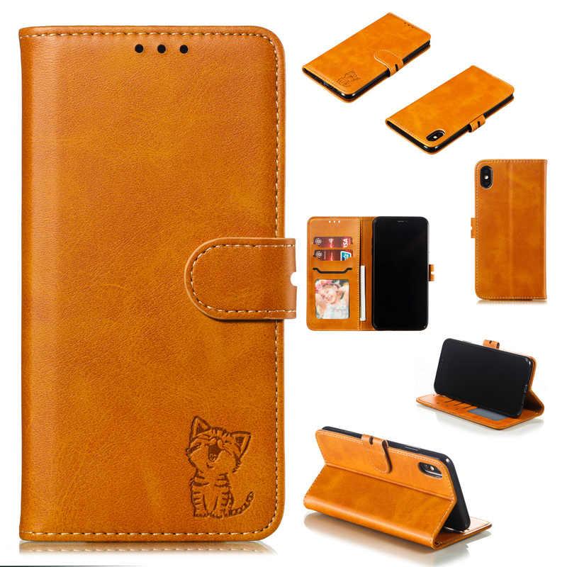 Cute Cat zwierząt wzór Case dla iPhone 12 Mini 11 Pro Max SE2020 XR XS 6 6s 7 8 Plus skórzany portfel odwróć karty stań pokrywy Coque