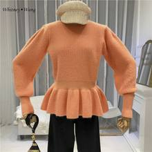 WHITNEY WANG 2019 Autumn Winter Fashion Streetwear Korea Style Solid Color Ruffles Sweater Women Jumper sueter mujer invierno(China)