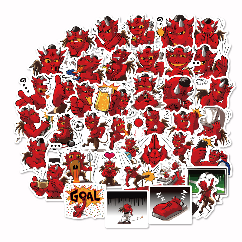 40Pcs Cute Label Red Devil Stickers Diary Handmade Adhesive Paper Flake Sticker Scrapbooking Pegatinas Stationery Stickers