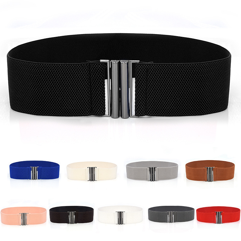 Wide Elastic Belt Solid Color Corset Belt Metal Buckle Lady Fashion Cummerbands Stretch Cinch Waistband Women Waist Belt