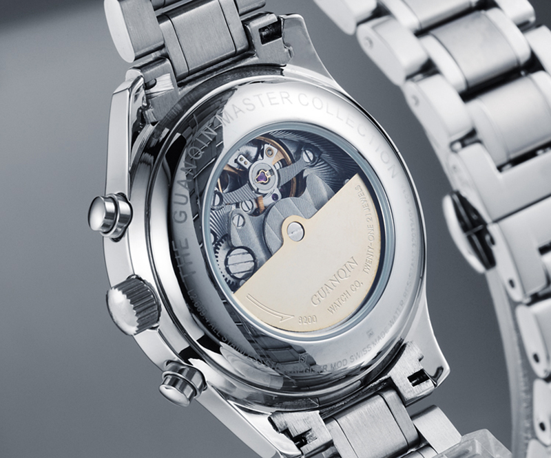H946fbc9b03aa4ee3ab53bd2a37137518M GUANQIN Relogio Masculino Automatic Mechanical Men Watches Waterproof Calendar Moon Leather Wristwatch otomatik erkek saat