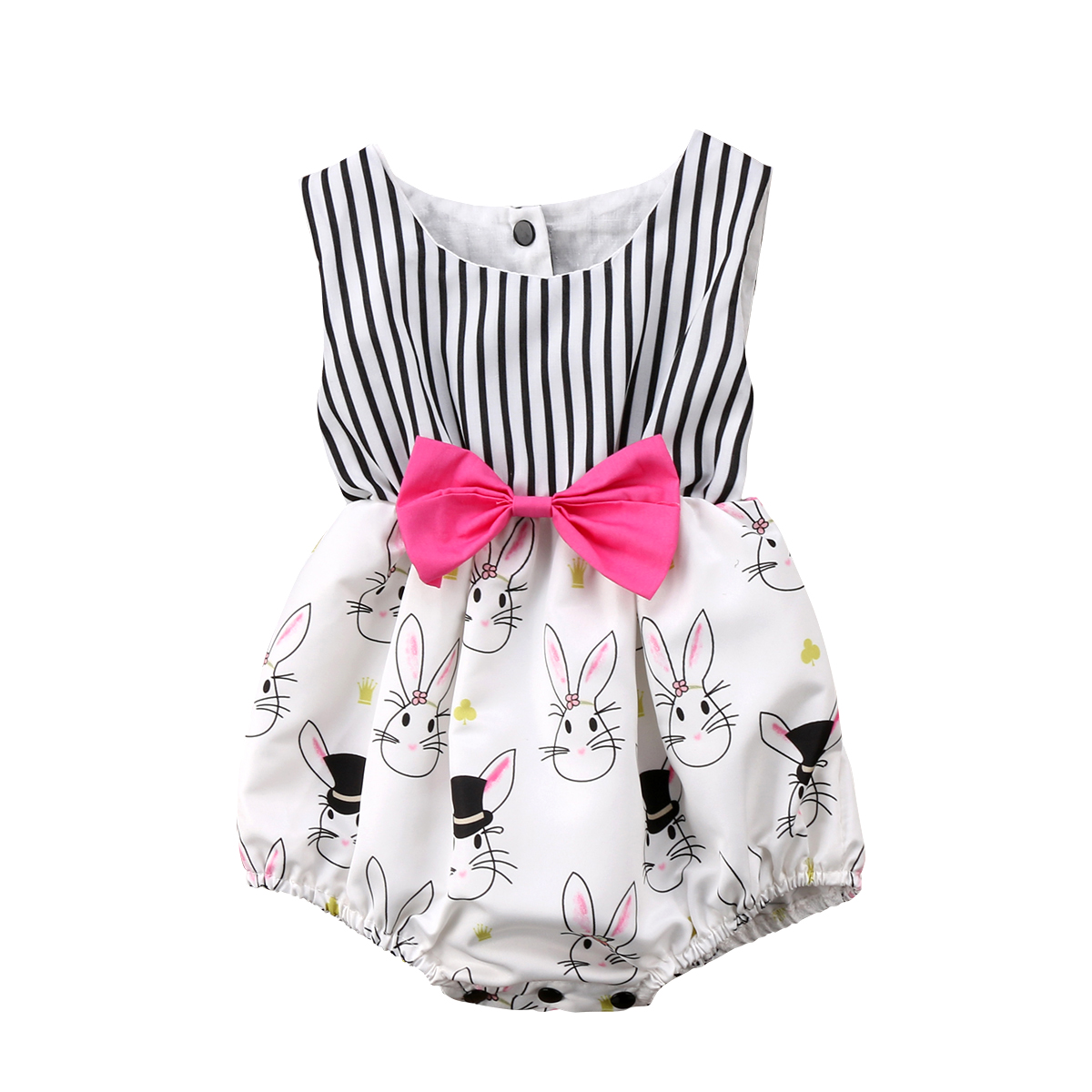 Newborn Baby Girls Bunny Bowknot Sleeveless  Bodysuit Jumpsuit Easter Outfit Clothes Size 0-24M
