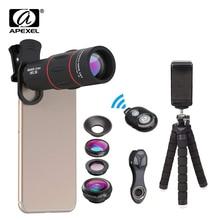 Apexel 전화 렌즈 키트 fisheye 와이드 앵글 매크로 18x 망원경 렌즈 망원 아이폰 xiaomi 삼성 갤럭시 안드로이드 폰