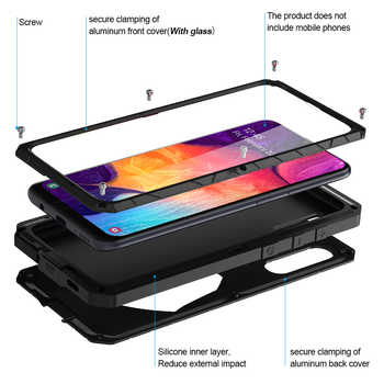 For Samsung Galaxy A30s A50 A51 Phone Case Hard Aluminum Metal Tempered Glass Screen Protector Heavy Duty Protection A71 Cover