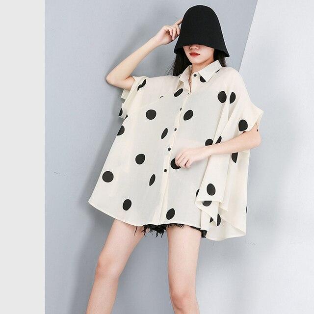 [EAM] 2021 New Spring Summer Lapel Half Sleeve Black Dot Printed Loose Temperament Big Size Shirt Women Blouse Fashion JW576 6