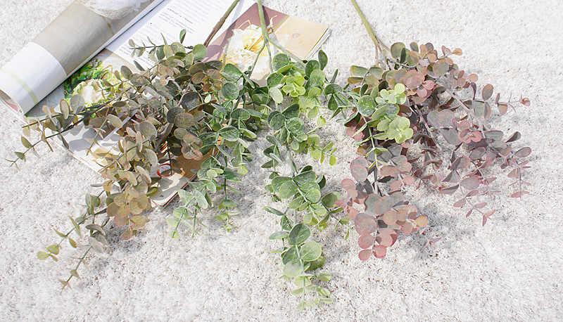 ארוך סניף 3 מזלג אקליפטוס נוי עציץ צמחים מלאכותיים פרחים דקורטיביים מזויף עלה scrapbookvases לעיצוב בית