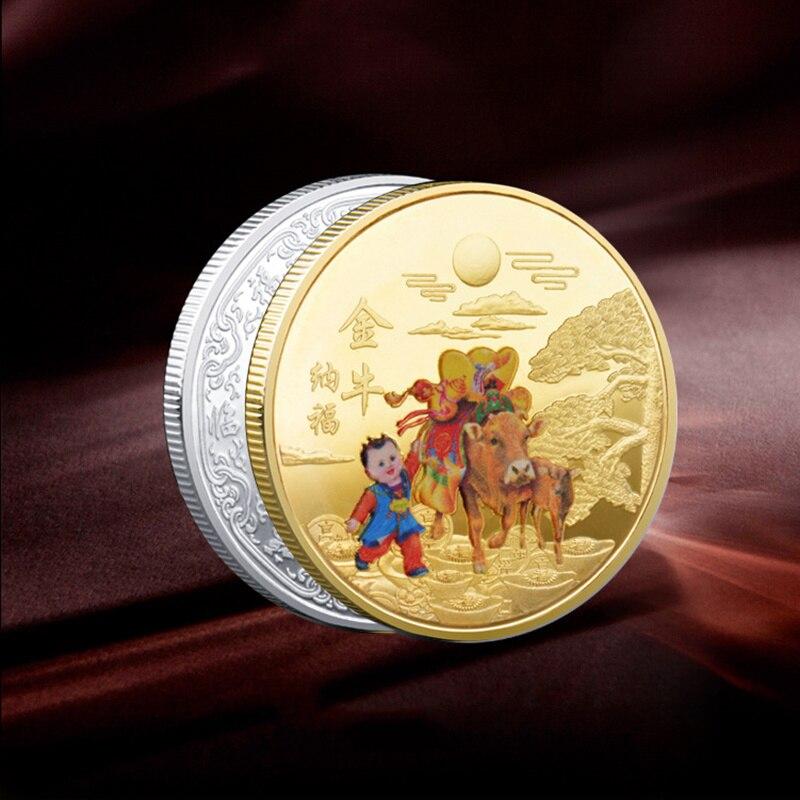 1 шт. 2021 год быка памятная монета Китайский Зодиак сувенир монеты без монеты иностранных валют коллекция украшений для дома подарок