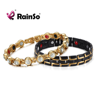 RainSo New Fashion Stainless Steel Magnetic Therapy Bio Energy Power Health Care Elements Bracelets for Couple Lover's Gift