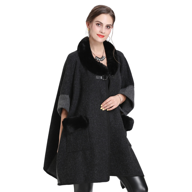 SC312 2019 Loose Oversize Knitted Plus Size Winter Poncho Women Faux Fur Collar Coat Short Sleeves Vintage Cape With Fur Pocket