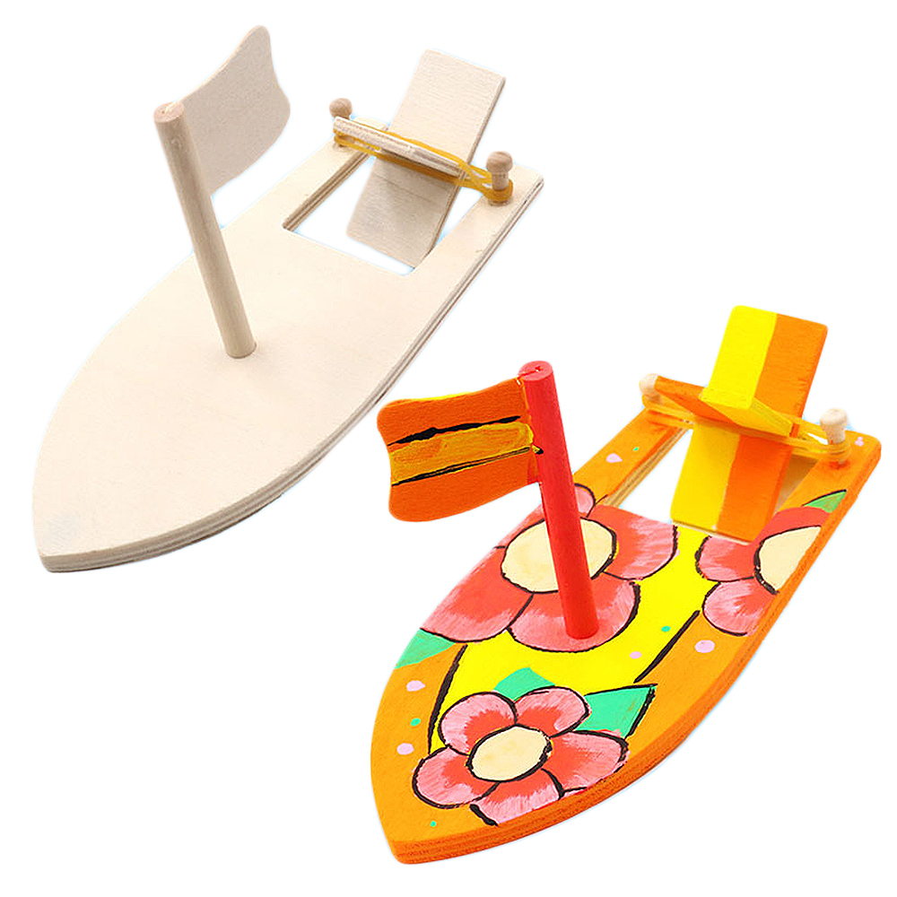 Wooden Blank Sailboat Model Kindergarten Children Painted DIY Boat Handmade Kits Educational Puzzle Toys