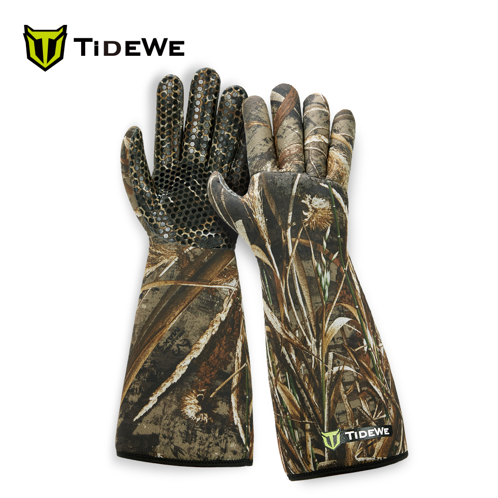 TideWe Waterproof Insulated 5mm Neoprene Elbow Length Hunting Gloves Silicone Surface Realtree MAX5 Camo Waterfowl Decoy Gloves