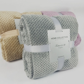 Soft Warm Flannel Blankets For Beds Solid Pink Blue Coral Fleece Mink Throw Sofa Cover Bedspread Fluffy Plaid Blankets