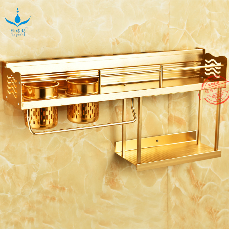 New Style Alumimum One Layer And A Half Knife Rest Luxury Gold Color 60 Double Cup Large Kitchen Shelves Source Manufacturers