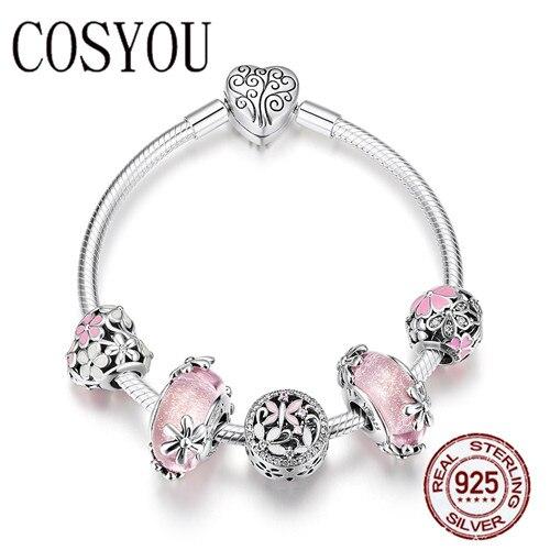 COSYOU 2019 925 argent Sterling jardin fée rose perles de verre européennes bracelets porte bonheur et bracelets bijoux en argent Sterling SCB821