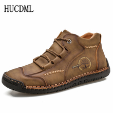 HUCDML 2020 Comfortable Casual Leather Shoes Men Soft Leathe