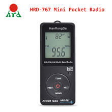 HanRongDa HRD 767 Mini Pocket Radio Aircraft Band Receiver Portable Radio LCD Display Lock Button FM/AM/AIR Radio with Earphone