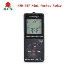 Компактный карманный радиоприемник HanRongDa, портативный приемник с ЖК дисплеем и кнопкой блокировки, FM/AM/AIR, с наушниками