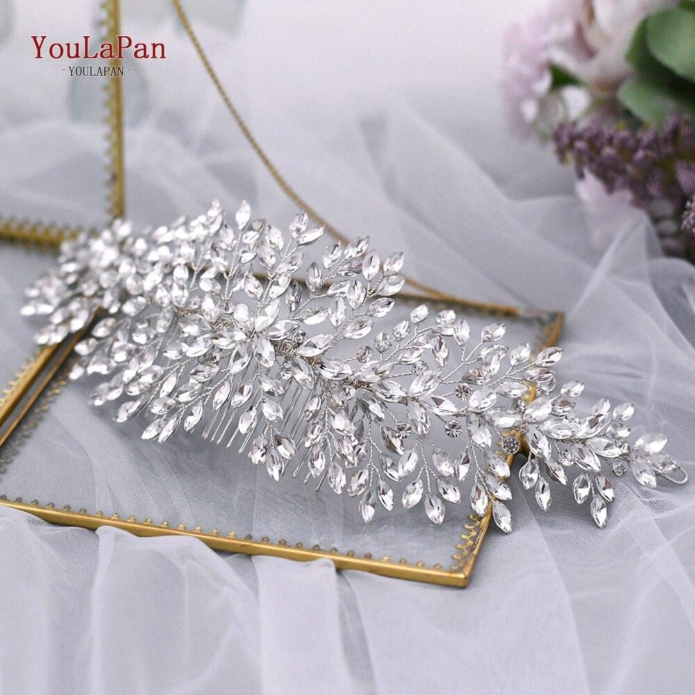 TOPQUEEN HP311 Wedding Crown Elegant Hair Accessories Rhinestone Bridal Hair Clips Silver Diamond Wedding Comb Hair Pins