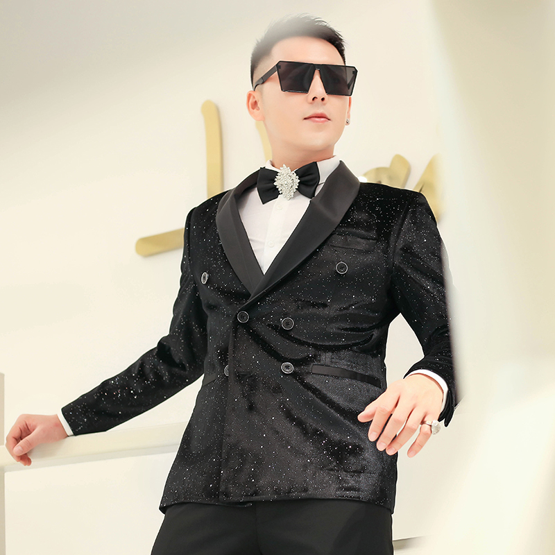 Veste Blazer Homme Men Black Blazer Sexy Costumes Mens Wedding Blazer Singer Man's Suit 2020 Spring Slim Fit Blazer In Men