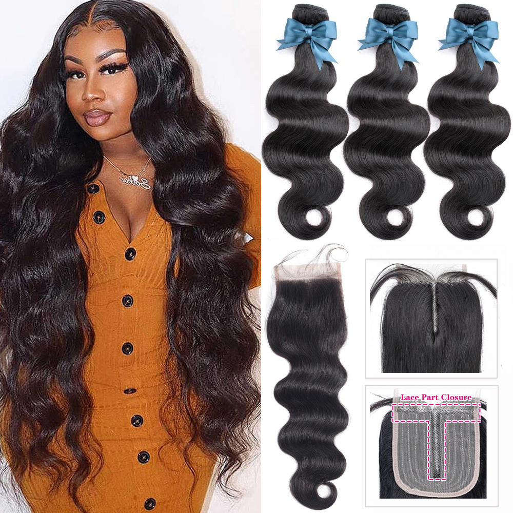 Body Wave Bundles With Closure Peruvian Hair Weave Bundles With Closure 4x4 HD Transparent Lace Closure with Hair Extensions