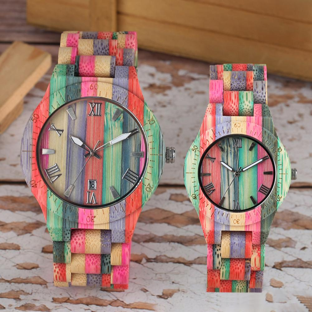 Fashion Colorful Top Material Luxury Couple Watch Quartz Wristwatch Bamboo Wood Quartz Analog Watch For Lovers Montres Homme