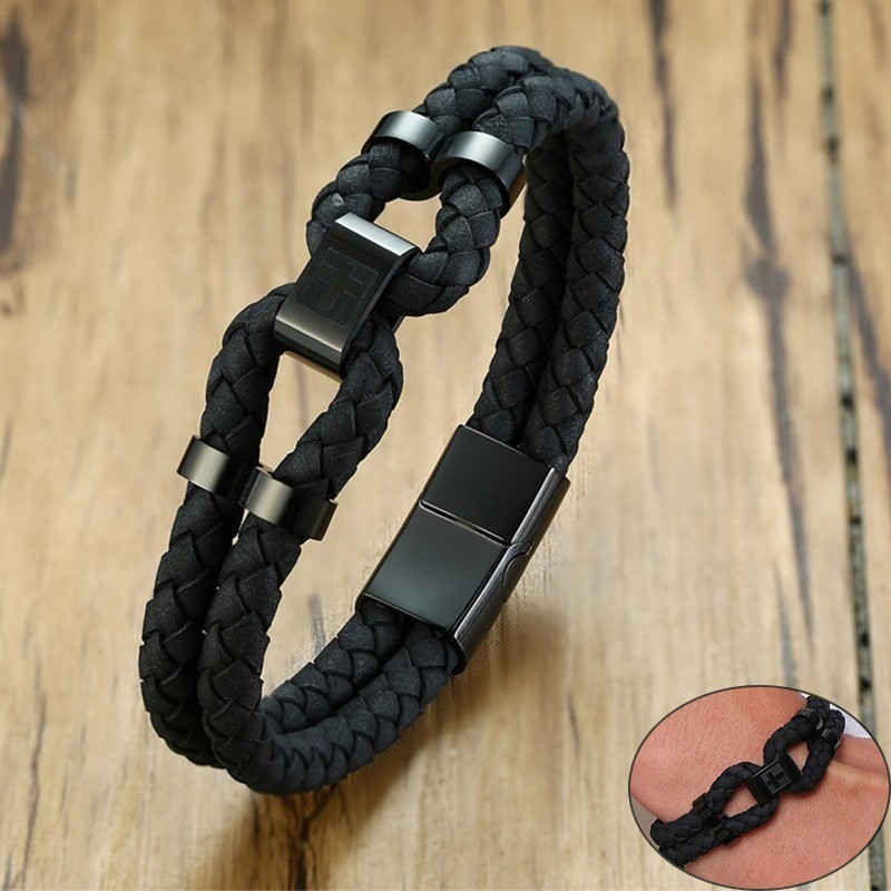 Vnox Mens Black Genuine Leather Bracelets Stainless Steel Cross and Letter ID Tag pulseira masculina 21.5cm