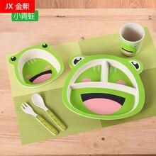 5pcs Food grade bamboo fiber children's tableware cartoon dinner plate spoon  cutlery set  dishes sets dinnerware bamboo cutlery цена 2017