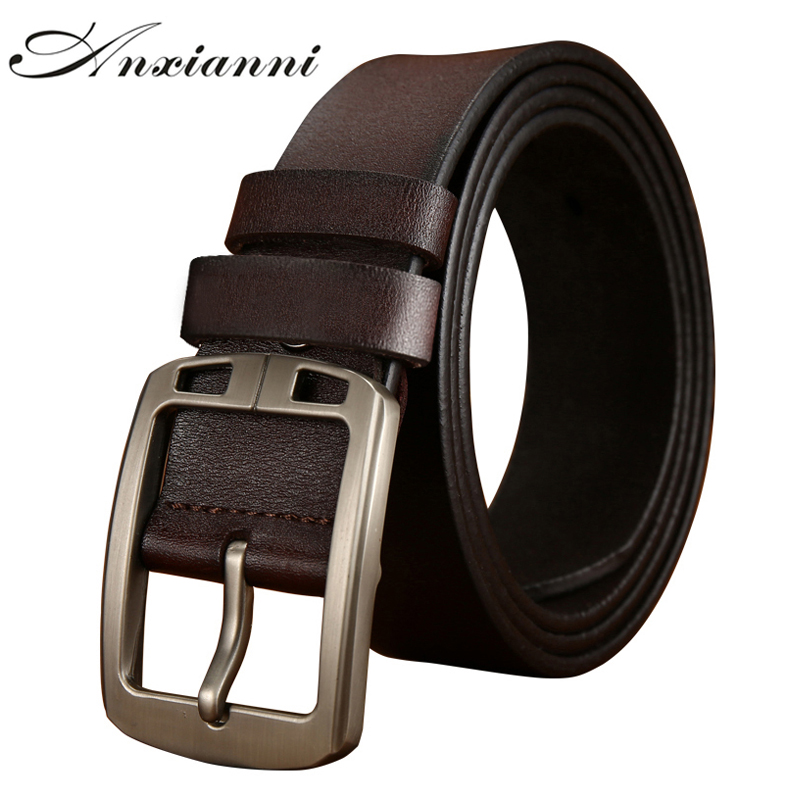 New Casual Retro Leather Belt Washed Luxury Men's  Cowhide Leather Belt Genuine Leather Men Belts Black Brown Color For Jeans