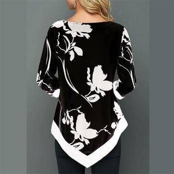 4XL Plus Size Women Blouses 2019 Autumn Tops Casual Long Sleeve Print Lace Patchwork Shirt Lady Irregular Blouse Large Size 5XL 5