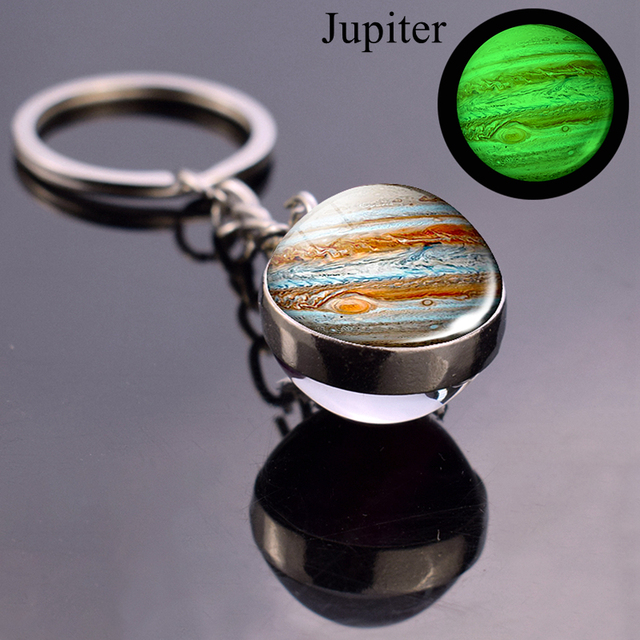 Luminous Moon Glass Ball Key Chain Earth Sun Jupiter Planet Keychain Galaxy Solar System Jewelry Glow The Dark Pendant Gift 3
