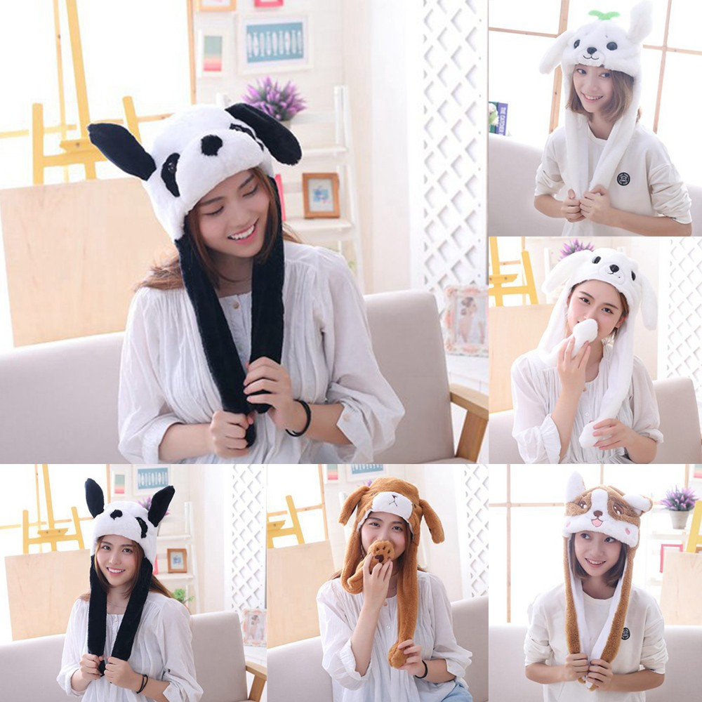 Cute Animal Ear Safety Hat Children Bunny Hat Moving Plush Soft Jumper Interesting Toy Hat Girl Toy Child Holiday Gift Adult Hat