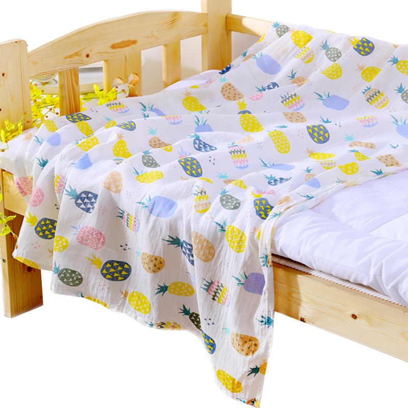 二重層純粋な綿モスリン毛布プリント花ベビー寝具バスタオル毛布新生児赤ちゃんおくるみラップ受信