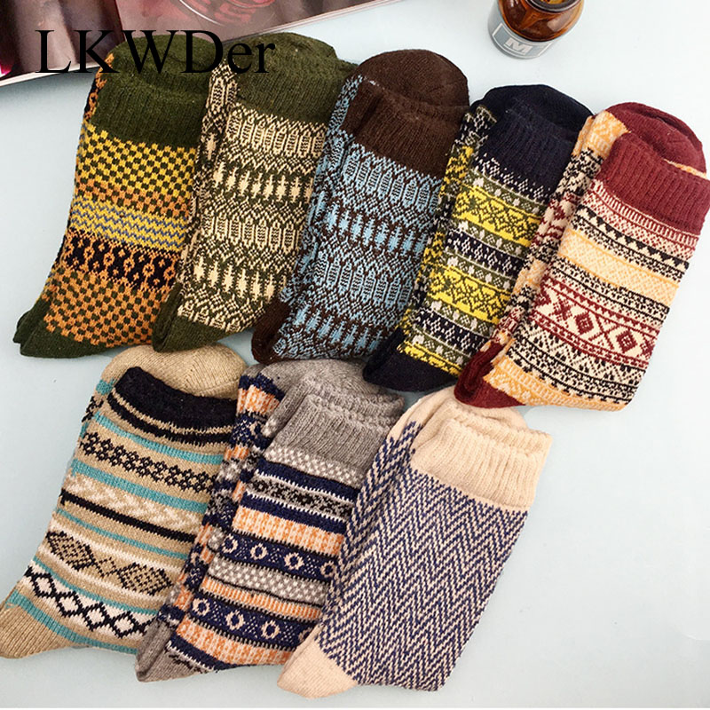 LKWDer 5 Pairs/lot New Witner Men Socks Thick Warm Wool Socks Vintage Christmas Socks Colorful Sock Gift Meias Calcetines Hombre