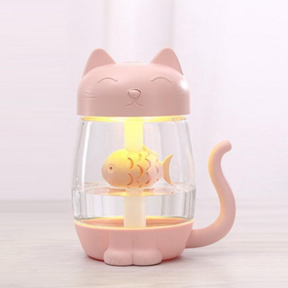 USB Charging Cute Cat Air Humidifier Ultrasonic Car Aromatherapy LED Light For Car Office Home title=