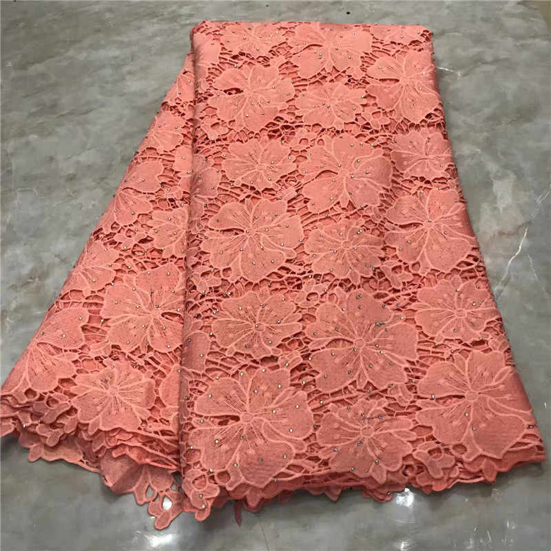 African Lace Fabric 2019 High Quality Lace Heavy African Guipure Cord Lace Fabric With lots of Stones For Nigerian Women pink