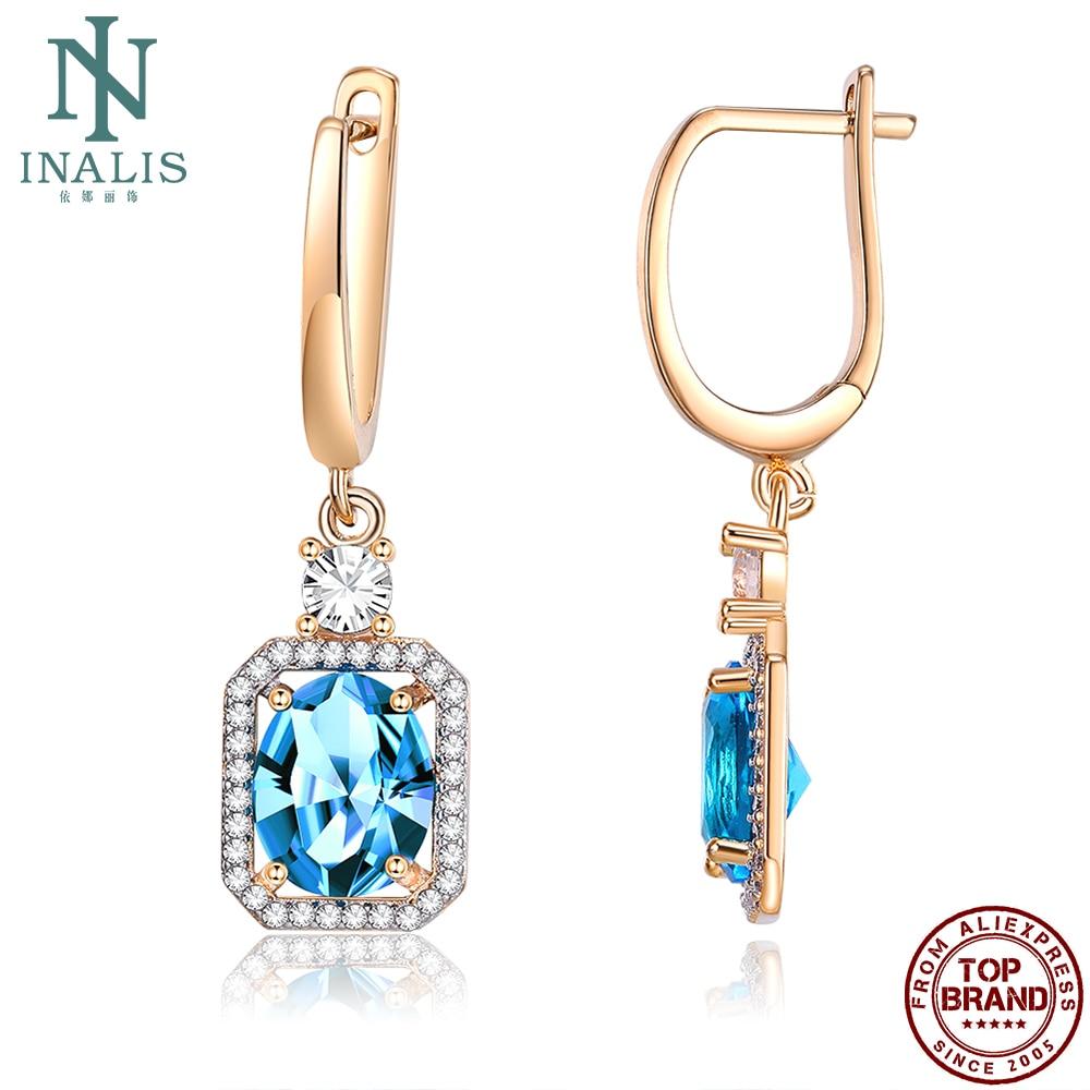 INALIS свисающие серьги для женщин, серьги Романтический медный Голубой цирконий женские серьги позолоченные серьги шампанского золотого мод...