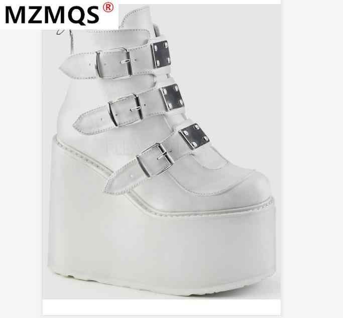 2020 Musim Dingin Gesper Logam Ankel Sepatu Wanita Punk Wanita Platform Sepatu Boot Wedges Sepatu Hak Tinggi PU untuk Wanita Pasang Kaos Mujer Plus ukuran