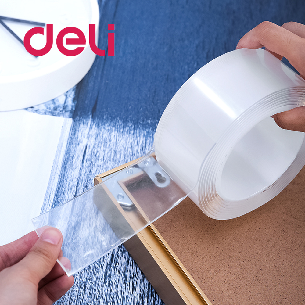 Deli 1PCS Nano Adhesive Double Side Transparent Plastic Suction Stickers Strong Seamless Waterproof Ceramic Adsorption Film