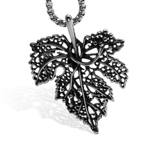 цена на Stylish simplicity 316L stainless steel Necklace Maple leaf Pendant Necklace Hollow leaf Charm men and women Clothing jewelry