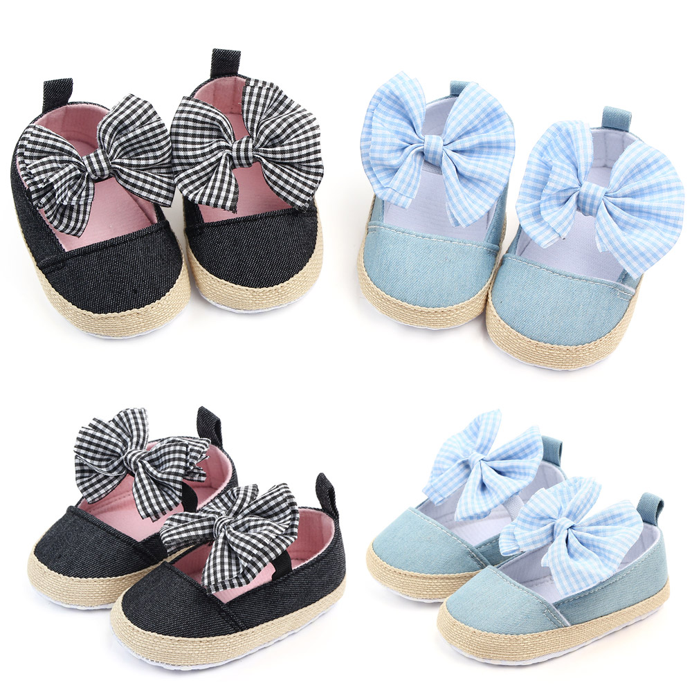 Cotton Butterfly-knot Baby  Booties Infant Sneaker Shoes Toddler First Walker Newborn Girl Footwears Black  Baby Girl Shoes