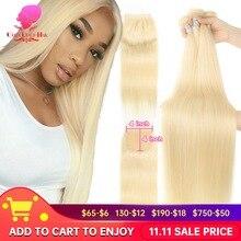 613 mel loira cabelo humano em linha reta cabelo brasileiro tecer pacotes com fechamento 5x5,613 loira cabelo ofertas 3 4 pacotes e fechamento