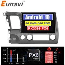 Eunavi 4G + 64G 2 DIN Android 10 autoradio lecteur multimédia pour Honda Civic 2006-2011 4G tablette PC 10.1 pouces écran navigateur GPS