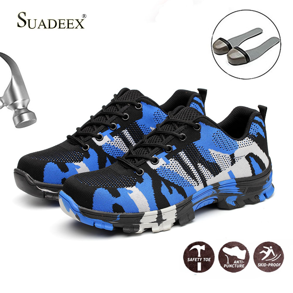 SUADEEX Safety Shoes Steel Toe Work Shoes Men Women Breathable Ankle Boot Construction Sneaker Anti-Smashing Plug Size 35-48