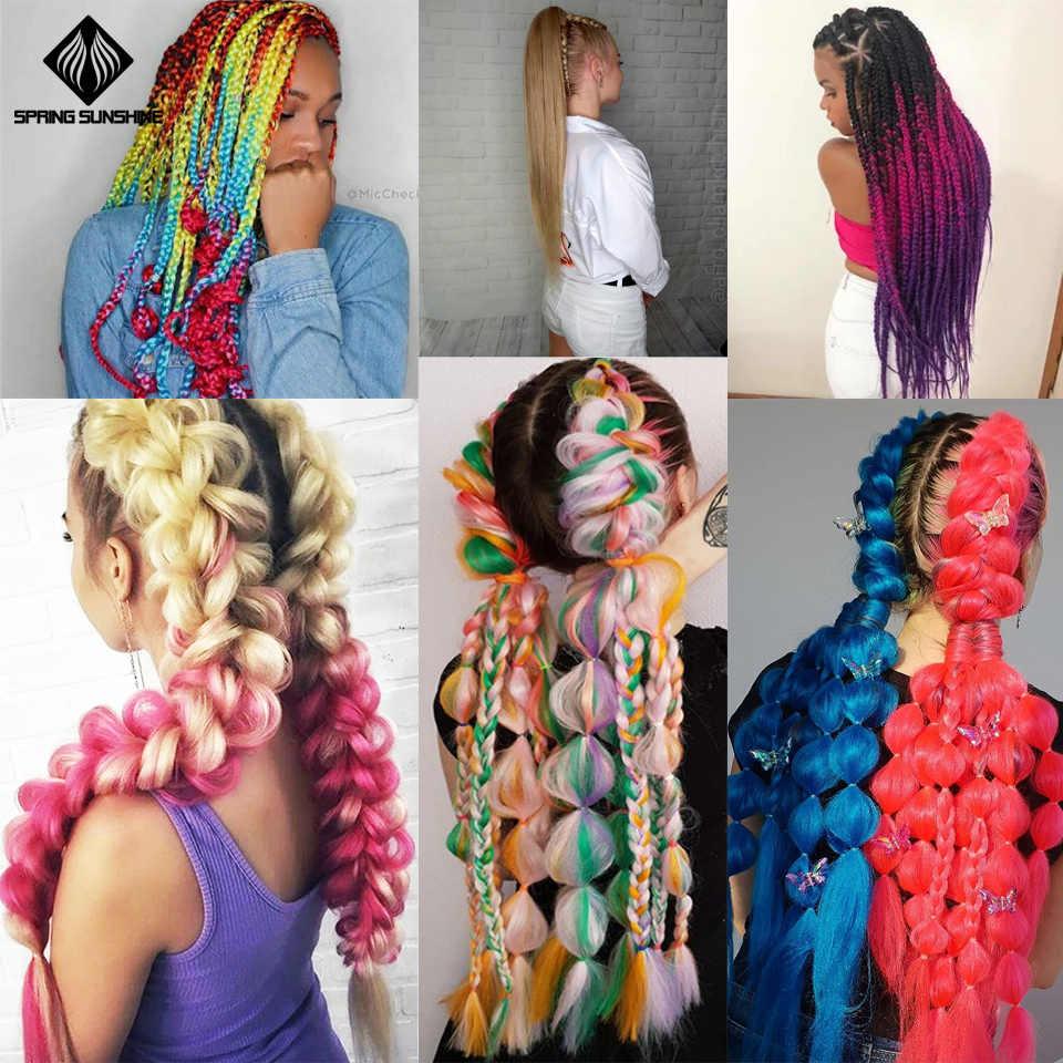 Primavera sunshine pelo trenzado sintético Jumbo trenzas largo Ombre Jumbo Crochet trenza Rubio Rosa gris extensiones de cabello africano