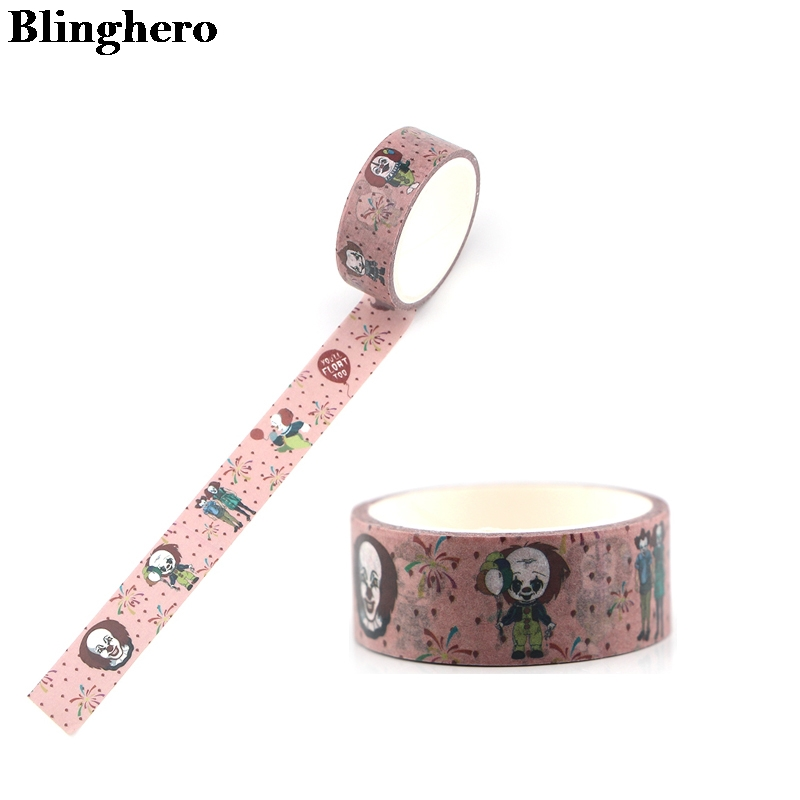 Blinghero 15mmX5m Cool Washi Tape Paper DIY Decorative Adhesive Tape Stationery Cartoon Masking Tapes ZC0102