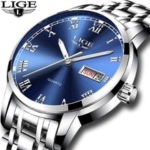 LIGE Luxury Brand Men Stainless Steel Gold Watch Men's Quartz Clock Man Sports W