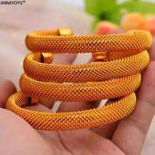 4 шт/лот 24k Дубай золотые браслеты для женщин эфиопские ювелирные
